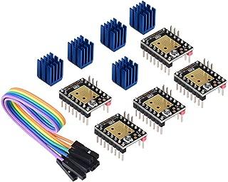BIQU 3D Printer Part Stepstick Mute TMC2208 V3.0 Stepper Motor Driver with Heatsink for SKR V1.3 MKS GEN L Ramps 1.4/1.5/1.6 3D Printer Control Board(Pack of 5pcs) (UART Mode)