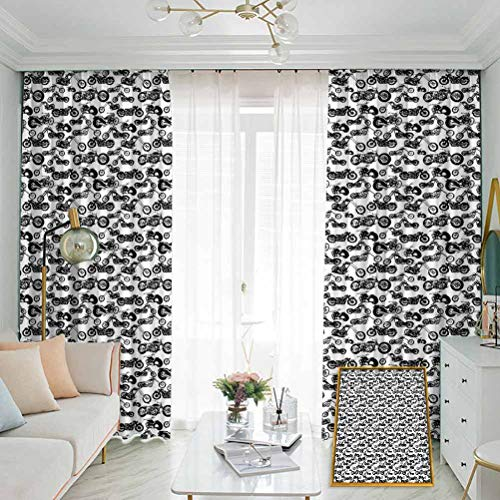 Motorcycle Sun Protection Insulated Bedroom Living Room Curtain Retro Chopper Pattern Monochrome Motorbike Design Adventure Cruising Theme 2 Panels W96 x L108 Inch Black White