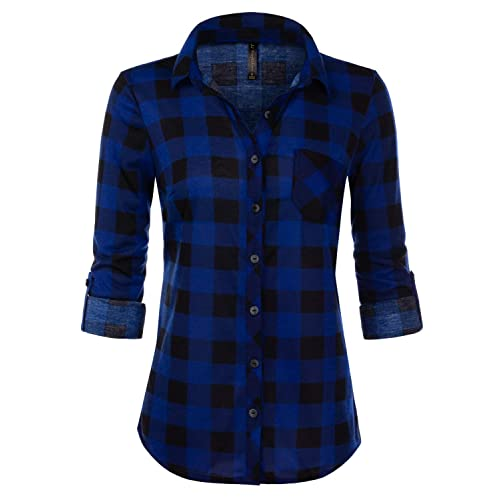 7baffbf0 JJ Perfection Womens Long Sleeve Collared Button Down Plaid Flannel Shirt