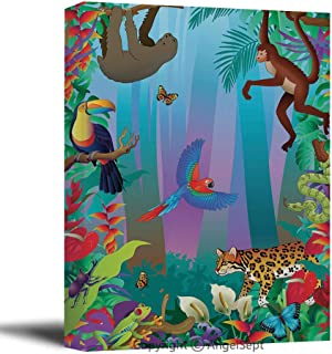 Modern Salon Theme Mural Amazon Rainforest Animals Vertical Jungle Scene with Many Creatures Painting Canvas Wall Art for Home Decor 24X36Inches