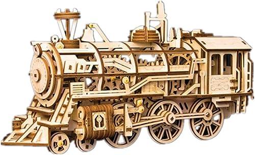 QIU PING Holz-Mechanische Getriebe-Lokomotiv-Puzzle 3D Stereo montiertes Modell Spielzeug