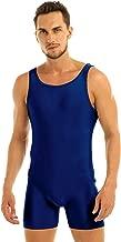 TiaoBug Men's Lycra Spandex Sleeveless Short Tank Vest Leotard Workout Bodysuit