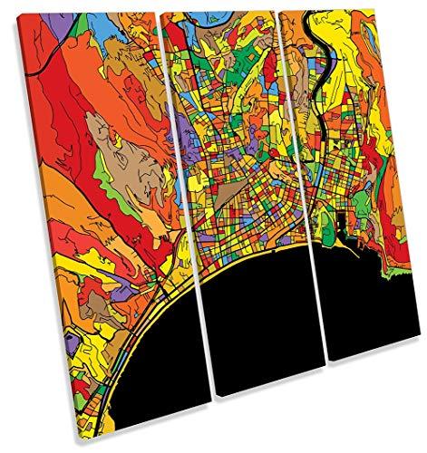 Canvas Geeks Lienzo Decorativo para Pared con diseño de Mapa de la Ciudad de Francia, 120cm Wide x 120cm High