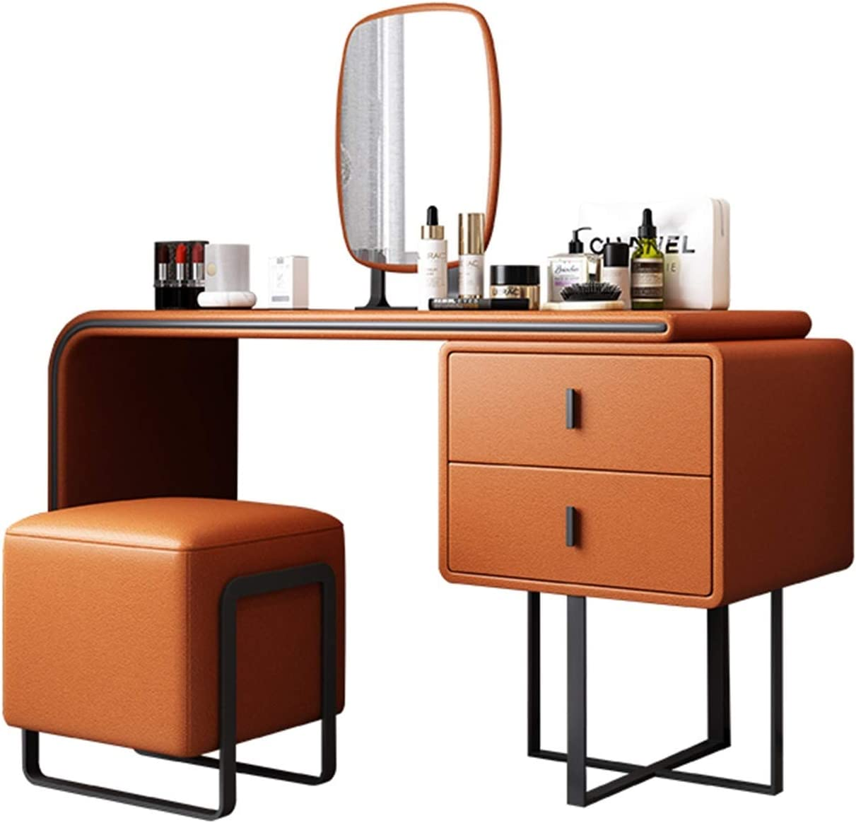LJJSMG Vanity Benches Makeup Desk Cushioned 1 year warranty Stool with 2 Drawers Large-scale sale
