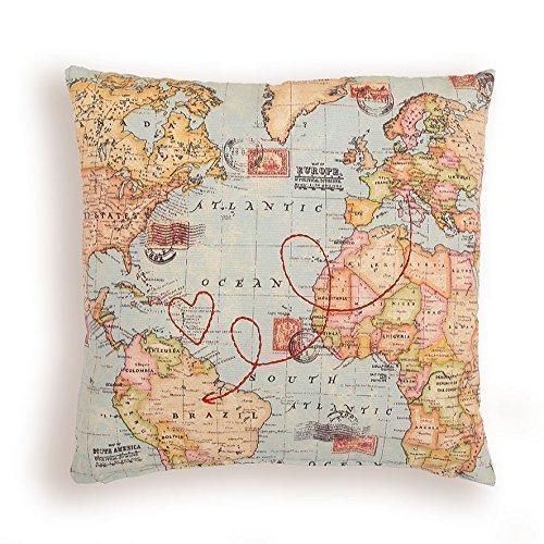 Postkarte Kissen. Weltkarte. Maßgeschneiderte Stickerei Reiseroute.