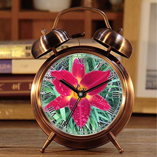 alarmclock Rã © Veil, Rã © Tro portátil Bell Bell en Plus de rã © Veil con Nightlight 285.Flower Heart Red