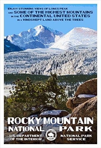 Rocky Mountain National Park Poster (Longs Peak) - Original Artwork - 13' x 19' by Rob Decker - WPA Style
