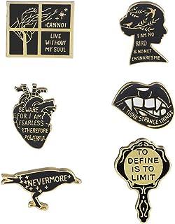 WINZIK Lapel Brooch Pins Set 6Pcs Cartoon Mirror Lips Lark Bird Series Pattern Novelty Badges Ornaments For Women Children Clothing Bags Decor