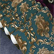 CYAuang Papel Tapiz del Dormitorio Glitter Gold Floral Damask Wallpaper Texture Vinyl Damask Striped Wallpaper Home Bedroom Roll