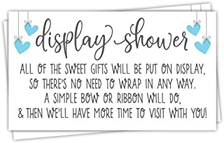 50 Blue Display Shower Cards - Unwrapped Gift Request for Boy Baby Shower - Invitation Inserts