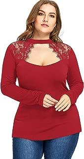 DEZZAL Women's Long Sleeve Chocker Neck Lace Trim Keyhole Top