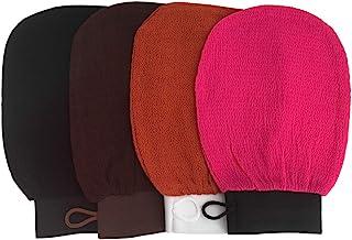 HAI+ Exfoliating Hammam Mitt Kessa Scrub Gloves, Premium Scrub Wash Mitt for Bath or Shower, for All Skin Types and Improve Blood Circulation, Shower, Spa, Dead Skin Cell Remover (4 pack)