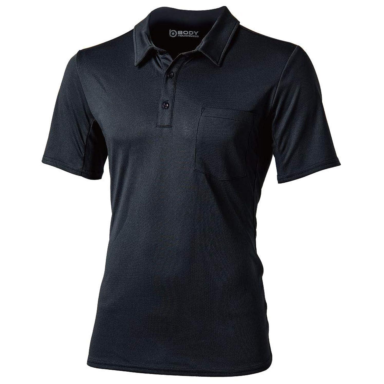湿った理論的わずかにおたふく手袋 ボディータフネス 吸汗 速乾 デュアルメッシュ ポロシャツ ショートスリーブ ブラック Lサイズ JW-603