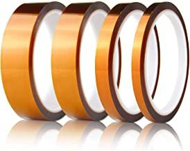 Hxtape Multi Size Choices High Temperature Kapton Tape,Polyimide Film Tape for Masking,3D Printing,Electric Task,Soldering,1/4 inch,1/2 inch,3/4 inch,1 inch, 36yds/roll, Pack of 4