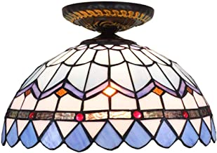 Tiffany Ceiling Fixture Lamp Semi Flush Mount 12 Inch Mediterranean Stained Glass Lampshade for Dinner Room Living Room Be...
