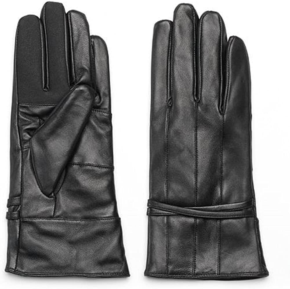 Igloos Black Leather Gloves w/ 3M Thinsulate Women's M/L Vertical Pieced Design