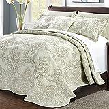 Home Soft Things Serenta Damask 4 Piece Bedspread Set, Oversize Queen (110' x 120'), Light Green