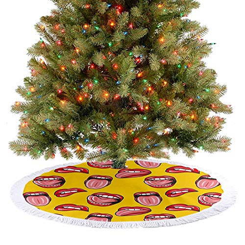 Adorise Christmas Tree Skirt Decorations Beautiful Red Lips Teeth and Tongues Illustration in Pop Art Style Print Red Christmas Party Decorations Your Cat May Enjoy Laying on The Tree Skirt - 48 Inch