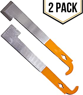 2 Pack Stainless Steel Beekeeping J Hook Hive Tool with Frame Lifter, Scraper and Orange Handle for Your Bee Hive