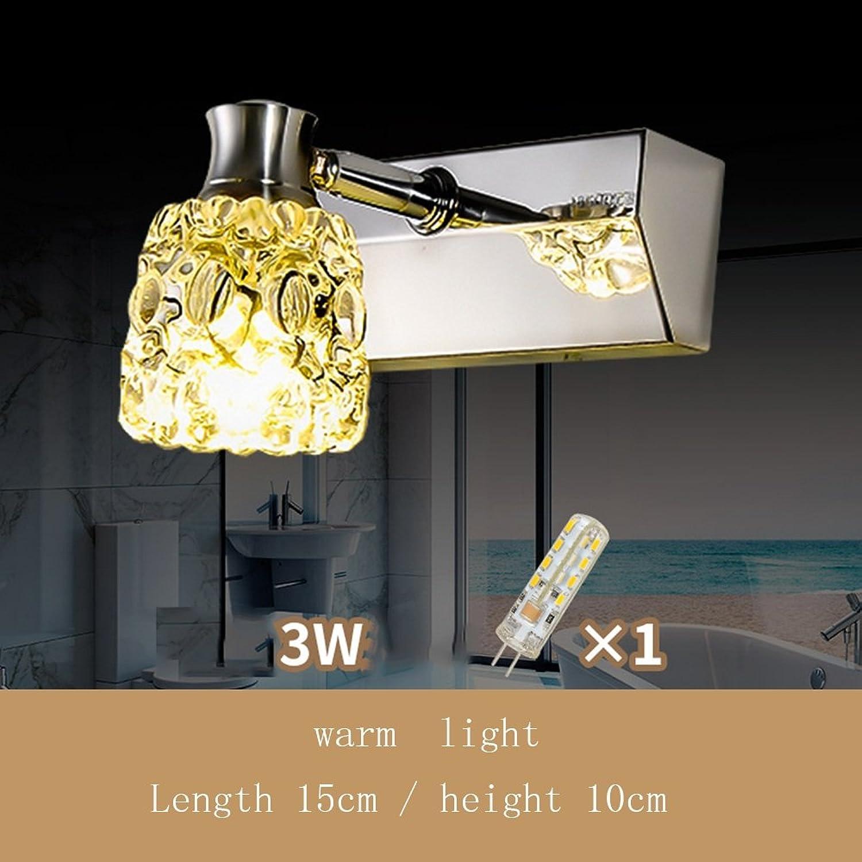 FUFU Badezimmer Kristall-Spiegel-Frontleuchten Einfache LED-Spiegel-Frontleuchten Feuchtigkeitsgeschützte Nebel Kristall Wandleuchte Edelstahl Spiegelschrank Licht (nie Rost)