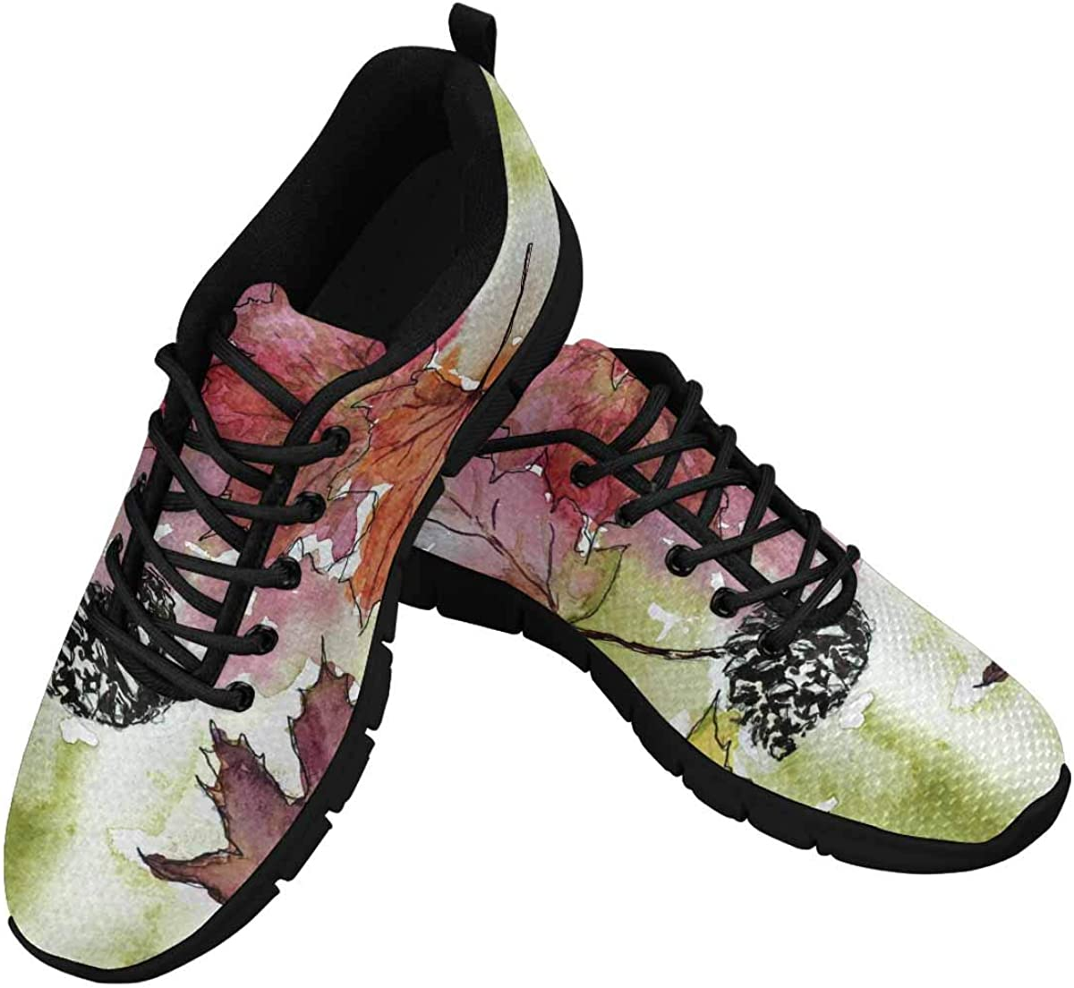 INTERESTPRINT Watercolor Maple Leaf Women's Lace Up Running Comfort Sports Sneakers