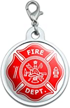 Graphics and More Firefighter Firemen Maltese Cross - Red Large Chrome Plated Metal Pet Dog Cat ID Tag