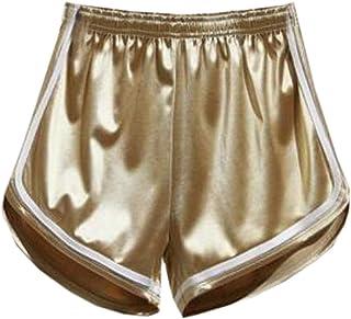 SHOWNO Women Casual High Waisted Sports Color Block Elastic Waist Shorts