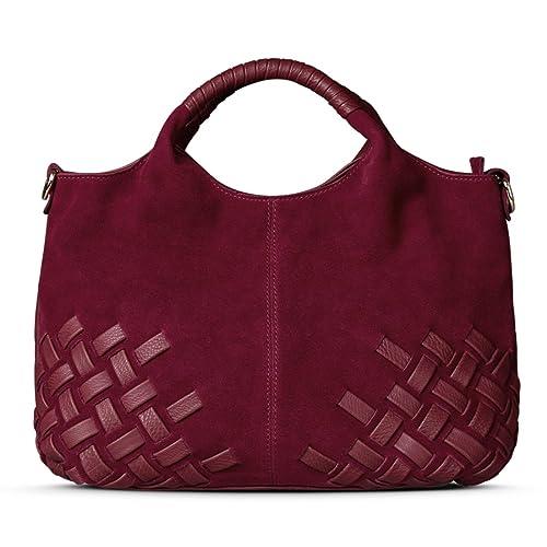 650657b8a3 Nico Louise Women Purse Suede Split Genuine Leather Weave Handbag Leisure  Casual Shoulder Bag