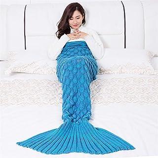 L-APZRIER Mermaid Blanket Handmade Knitted Sleeping Wrap TV Sofa Mermaid Tail Blanket Kids Adult Baby Crocheted Bag Bedding Throws Bag Lake Blue 145-70cm
