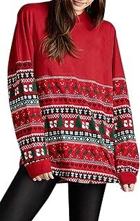 Women's Christmas Reindeer Snowflake Long Sleeve Sweatshirt