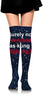 Seguramente no todo el mundo era Kung Fu luchando con calcetines altos de muslo de ganchillo para mujeres sobre la rodilla Medias altas