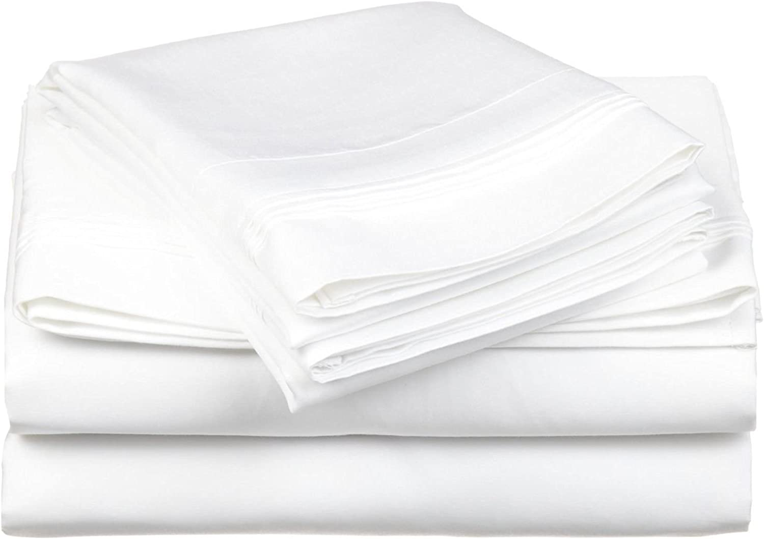 Luxurious Finish Comfortable Sleeper Sofa Bed Sheets Set, Egyptian Cotton - Solid White ( Queen Size 60 x74 x 6  )