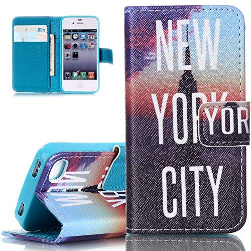 ISAKEN Custodia Compatibile con iPhone 5 5S SE Cover di Stampa Stile del Libro Portafoglio Cover in PU Cuoio Flip Custodia Wallet Cover con Funzione di Supporto e Morbido TPU Cassa - New York City