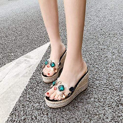 LIANGANAN Zapatos de casa de secado rápido, sandalias y zapatillas de cristal perla de playa, pendiente con chancletas - Mar negro A_36, cuña baja sin cordones en el dedo del pie sandalias zhuang94