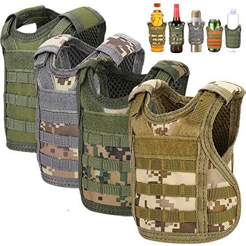 Accmor Beer Vest Tactical Holder, Mini Vest Tactical Coozy, 4 Pack Adjustable Molle Drink Holder Vest Beverage Cooler for 12oz 16oz Cans & Bottles, Cool Beverage Bottle Decoration