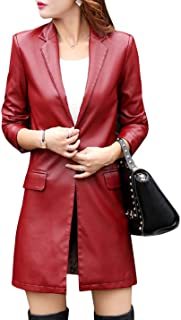 Tanming Womens Casual Lapel Long PU Faux Leather Jacket Suit Coat Trench Outerwears