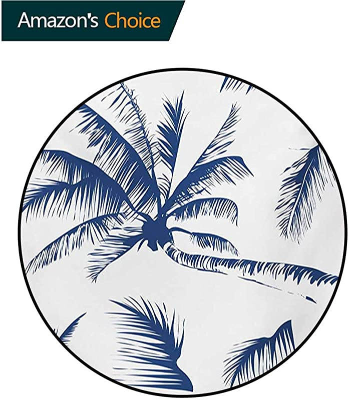 RUGSMAT Psychedelic Non Slip Round Rugs Silhouette Of Coconut Palm Tree With Psychedelic Details Dreamy Nature Theme Design Oriental Floor And Carpets Diameter 59 Inch Indigo