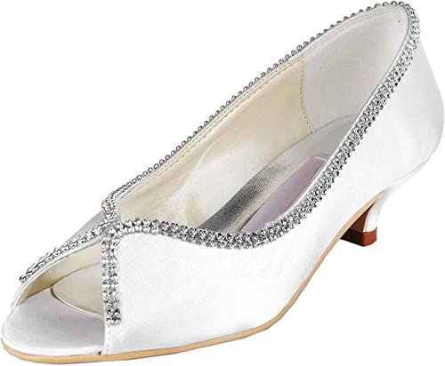 ZHRUI Femmes MZ536 Chaton Talon Satin De Mariage Soirée Sandales De Soirée De Bal (Couleuré   blanc-5cm Heel, Taille   8 UK)