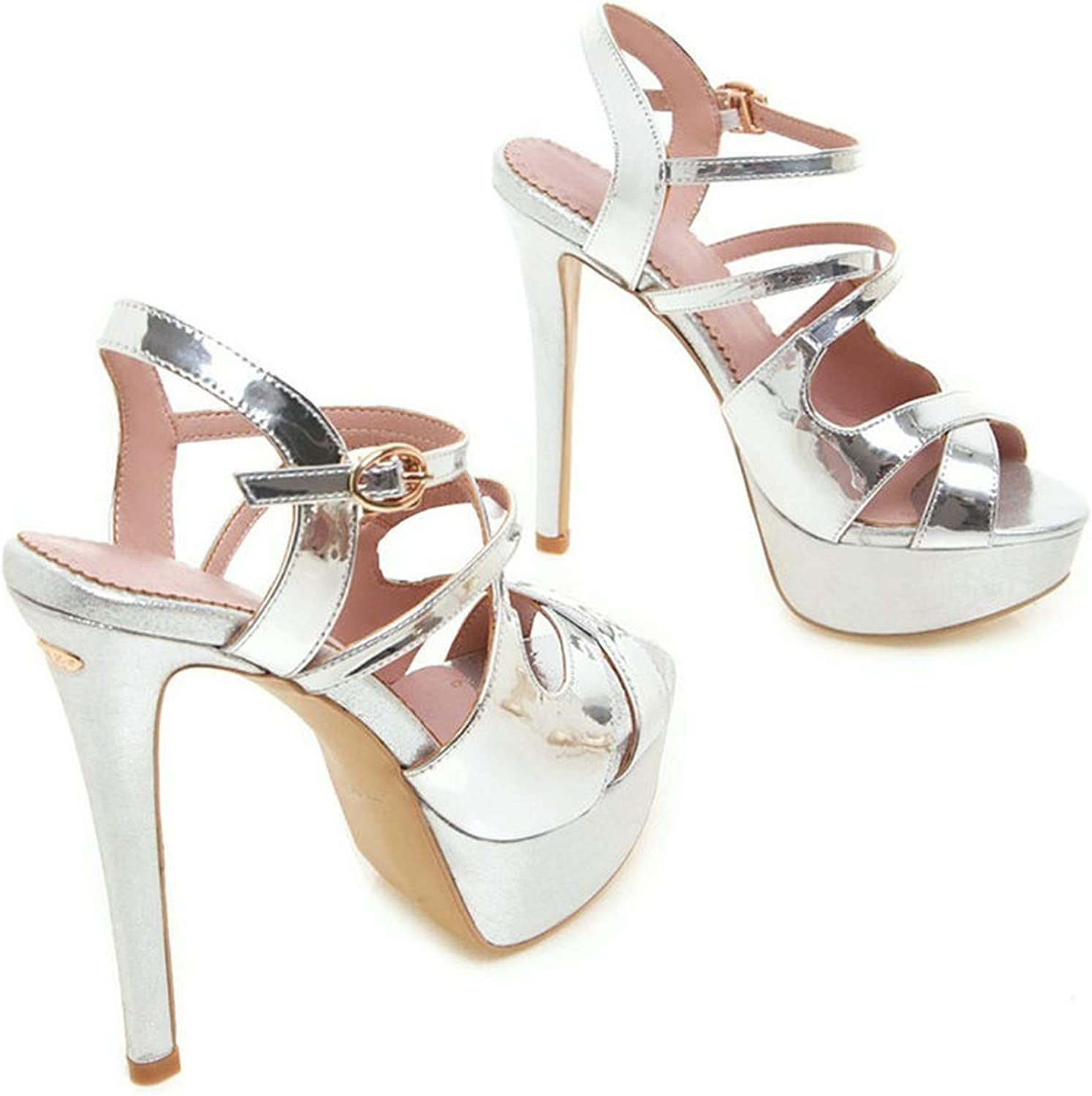 Ladies Sandals Patent Leather Thin Super High Heel Round Open-Toed Cut,