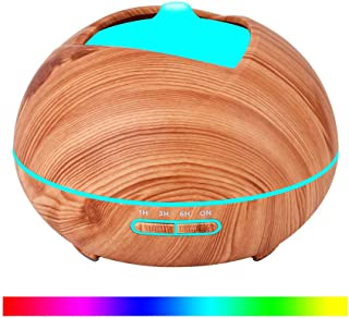 Wood Grain Aroma humidifier,400ml Pumpkin Essential Oil Aroma Diffuser and Humidifier with Timing 7 Color LED,Nightlight for Baby,Home,Bathroom,B
