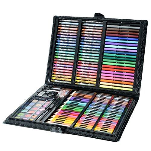 Aquarell Stift 198 Stück/Set Luxus Malerei Kunst Set, Aquarell Stift + Wachsmalstift + Farbe Bleistift + Pulver Kuchen Palette Malerei Set, Kinder Kunst Zeichenwerkzeuge Ideal für Künstler, Erwachse