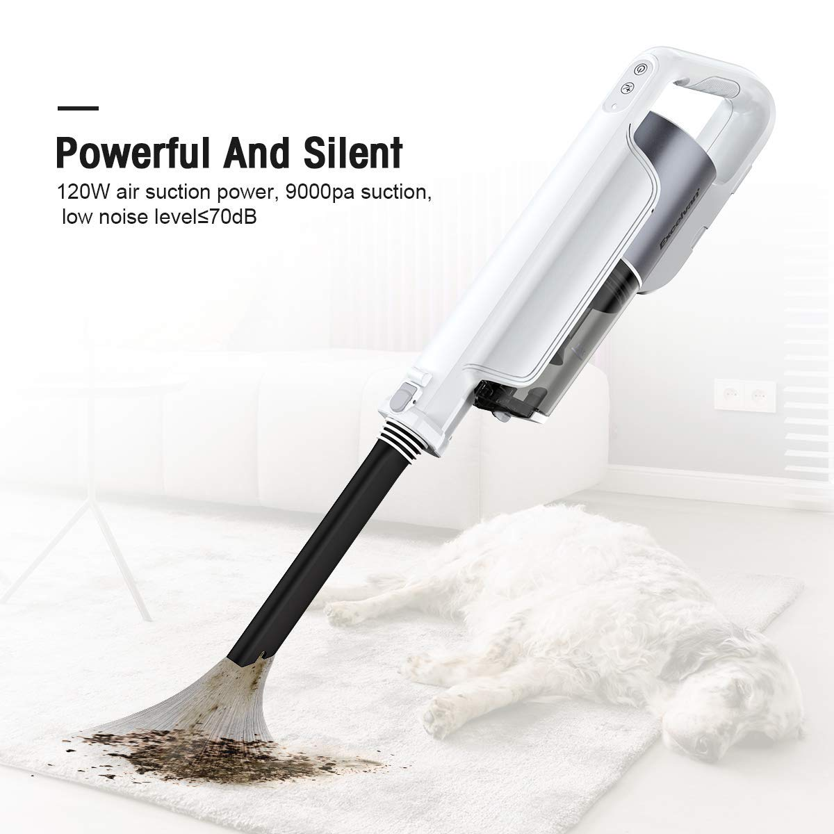 Excelvan 9000 PA High Power Cordless Vacuum Cleaner, Stick and Handheld 2 in 1, 2200mAh Bagless Upright Vacuum High & Low Suction Powers Adjustable