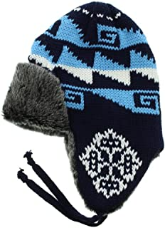 Milani Snow Flake Holiday Pattern Knit Aviator Trapper Earflap Beanie Winter Hat Skull Cap with Faux Fur