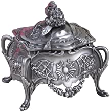 Decorative Vintage Jewelry Treasure Chest Box,Antique Finish Plated Tin Square Zinc Alloy Trinket Jewelry Box with Metallic Floral Engraved,Unique Keepsake Gift Case for Home Decor(Small)