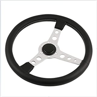 Greatly Store 350mm Prototipo Black/Silver Real Leather Steering Wheel (Color : Silver)
