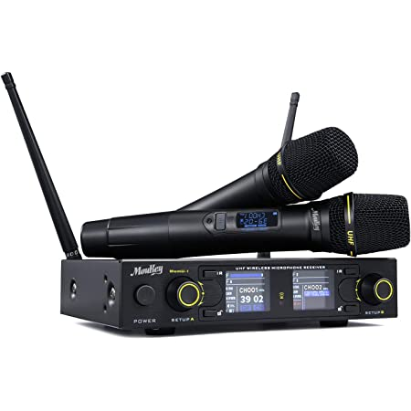 Moukey Wireless Microphone, 260 Channels Dual Handheld Dynamic Karaoke Microphone, Anti-Interference, 262ft Range, UHF Mics for Karaoke/Voice Amplifier/PA System/DJ/Church (MwmU-1)