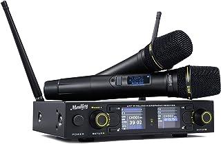 میکروفون بی سیم Moukey MwmU-1 قابل شارژ دوگانه UHF ، مجموعه میکروفن بی سیم حرفه ای بی سیم ، تنظیم قابل تنظیم از راه دور 300 کانال 262ft مانع از مداخله در مهمانی کلیسای کارائوکه
