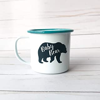 Baby Bear Enamel Mug Laser Engraved 8 oz - Teal