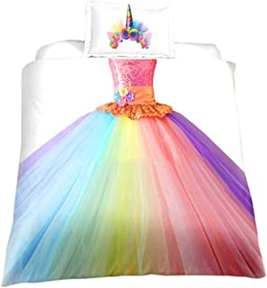 KTLRR Children's Bedding Set,Rainbow Unicorn Princess Dress for Girls Duvet Cover with Pillowcase,Kids Birthday Gift Home Bedroom Decoration,Microfiber,No Comforter, US Full 3pcs