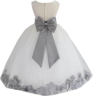 03cc9e827 Ivory Tulle Rose Floral Petals Toddler Flower Girl Dresses Bridal Gown 302T
